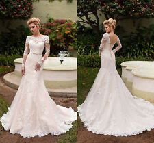 Wedding Dresses Bride Gown Mermaid Slim-Line Long Sleeve Lace Customize