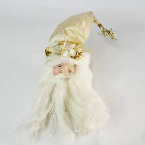 "Santa Head Ornament by Creative Designs Gold Floral Hat White Beard 8"" Ceramic"