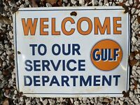 "VINTAGE GULF SERVICE DEPT PORCELAIN SIGN 17"" LUBE GARAGE OIL GAS PUMP PETROLIANA"