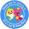 PERSONALISED BABY SHARK GLOSS BIRTHDAY PARTY,STICKERS,SWEET CONE LABELS