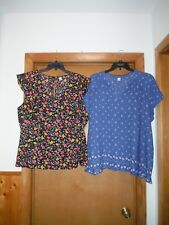 Short Sleeve Blouses size 2XL Old Navy Black Floral & Blue White Geo NWT