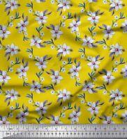 Soimoi Yellow Cotton Poplin Fabric Leaves & Periwinkle Floral Printed-zEN