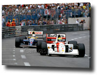 AYRTON SENNA MANSELL CANVAS  PRINT POSTER PHOTO WALL ART F1 FORMULA 1 MONACO