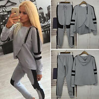 Womens Hoodie Tracksuit Zip Sweatshirt Tops Pants Set Lady Sport Lounge Wear UK