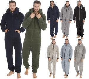 Mens Thick Snuggle Warm Fleece Hooded Zip 1Onesie All In One Jumpsuit