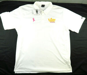 Oakley 5 Hour Energy Polo Pink Ribbon Men's 2XL White UV Resistant Quick Dry