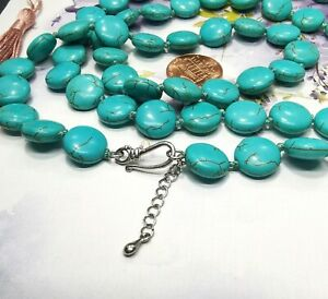 "12mm Coin howlite turquoise Necklace Gemstone Beaded 17"" 36"" knotted Lariat A2"