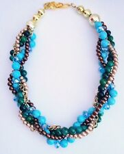 Gold Turquoise Malachite Pearl Twisted Statement Necklace Crystals Evening Wear