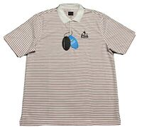 NWT Greg Norman Mens Golf Polo Shirt White Red Striped Play Dry Short Sleeve L