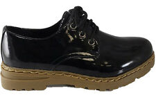 NEW Black patent lace up CREEPERS PUNK GOTH chunky Brogue Oxford Shoes Size 6