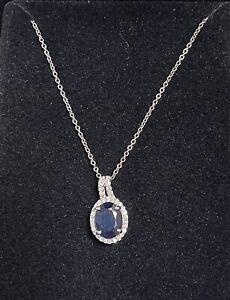 "Blue Sapphire and Diamond Halo Necklace Pendant White Gold 18"" Chain"