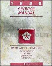 1986 Dodge Diplomat Plymouth Gran Fury Shop Manual 86