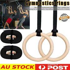 Wood Strength Training Gymnastic Rings 28mm Gym Fitness Adjustable Straps AU
