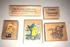 Lot of 5 Wood Mounted Rubber Stamps Crafts -  Easter Bunny Chicks Verses