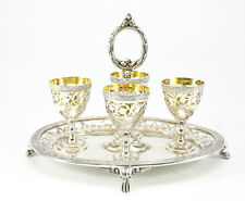 19th Century Elkington & Co. Reticulated Silverplate Egg Cruet Set #11095