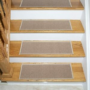"Beige Stair Treads Set Stair Carpet Tread Non Skid 8.5"" X 26.5"" Set of 5"