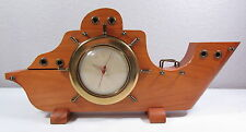 Vintage National Silver Co Electric Ships Wheel Brass Mantle Clock Wooden Ship