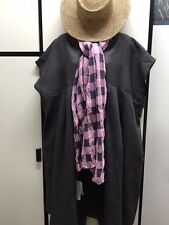 Chillma Japan OS Linen Steel Gray Oversize Ease Pleated Smock Dress