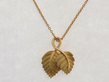 Tiffany & Co 18K Yellow Gold Double Leaf Pendant Necklace 16""
