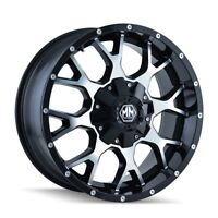 "20"" Mayhem Warrior 8015 Black Machined Wheel 20x9 8x6.5 8x170 0mm Ford Ram 8 Lug"
