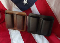 J&J LEATHER .45 45 CAL SINGLE STACK DOUBLE MAGAZINE CARRIER HOLSTER W/ BELT CLIP