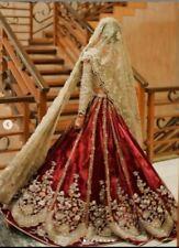 Red Valvet Saree Lehenga Designer Golden Blouse Wedding Sakshi Traditional dress