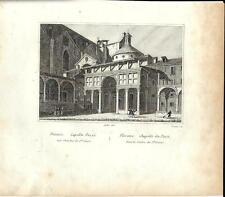 Stampa antica FIRENZE Cappella Pazzi Chiesa Santa Croce 1834 Old print Florence