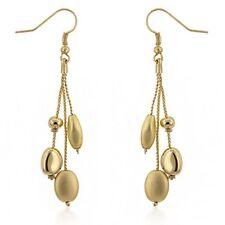 Golden Bead Drops 14K Gold GP Dangle Earrings - G29
