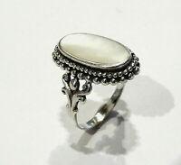 Bijou argent 925 bague marquise sertie de nacre taille 59  ring