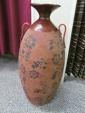"22"" Tall Earthy Mahogany Brown Clay Floor Vase Urn Dark Brown Floral Design"