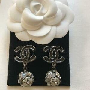 Auth CHANEL Black CC Camellia Pearl Stones Ball Drop Clip-On Earrings Used F/S