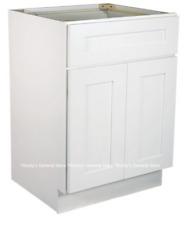 "White Shaker Bathroom Vanity Base Cabinet 24"" Wide x 18"" Deep New"