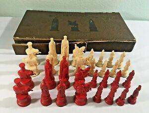 VINTAGE Chess Pieces - 1947 Replica 11th Century Figures - Kingsway Florentine