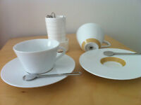 NESPRESSO RITUAL 2x CAPPUCCINO PORCELAIN CUPS&SAUCERS + 6 SPOONS - Andrée Putman