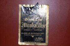 Ancienne étiquette de vin:  Grand cru Montbazillac 1955 avec col de bouteille