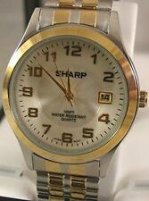 New Sharp Men's Dress Watch White Dial Gold-Silver 2-tone Bracelet Orig. $49