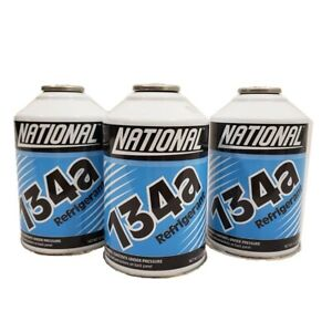 National R134a Auto A/C Air Conditioning Refrigerant Freon Gas USA 12oz -3 Can
