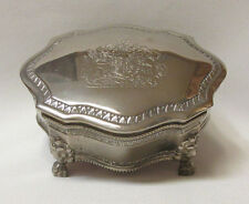 VINTAGE ELEGANCE ENGRAVED SILVER PLATED ZINC JEWELRY BOX BRITISH COAT OF ARMS
