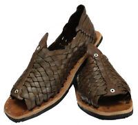 Authentic Mexican cien clavos Huaraches Men's Brown Leather Tire Sole cuero