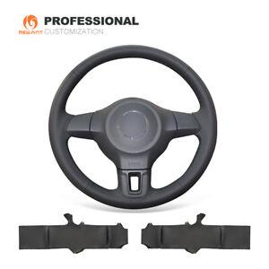Black Genuine Leather Steering Wheel Cover Wrap for VW Golf 6 Mk6 VW Polo MK5