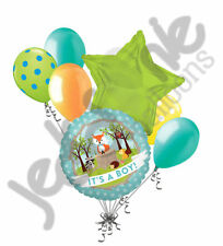 7 pc Baby Boy Woodland Critters Fox Balloon Bouquet Party Animal Shower It's a