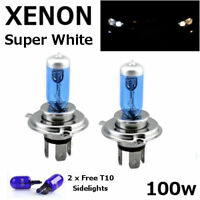 H4 100w SUPERWHITE XENON 472 UPGRADE Headlight Bulbs 12v +501 Sidelights ZENON C