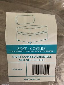 Lovesac Sactional Seat Cover Set - Taupe Combed Chenille; Brand New