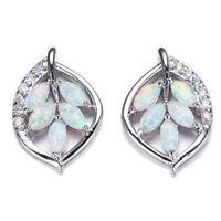 Topaz Quality Leaf Shaped White Fire Opal Gemstone Silver Stud Hook Earrings New