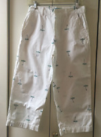"""""""Tahiti Reef Club""""  Brand White Ankle Pants W/Embroidered Dragonflies Size 6"""