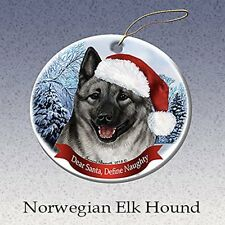 Holiday Pet Gifts Norwegian Elkhound Santa Hat Dog Porcelain Christmas Ornament