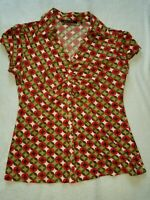 Violet & Claire Blouse Top SIze Large Collar Buttons Cap Sleeve Green Red White