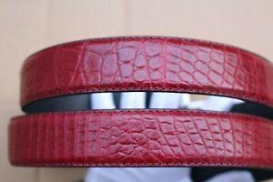 Burgundy Men's Belt Genuine Crocodile ,Alligator Skin Leather Belt Handmade