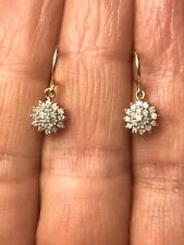 9ct Yellow Gold Diamond Cluster Drop Earrings 0.25ct