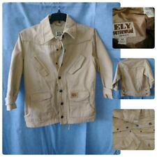 ELY OUTERWEAR BOY CANVAS TAN KHAKI JACKET M ZIP UP CHEST 36 LENGHT 23.75 HUNTING